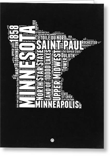 Minnesota Black And White Word Cloud Map Greeting Card by Naxart Studio
