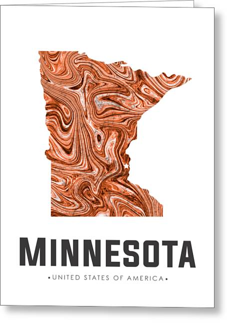 Minnesota Map Art Abstract In Brown Greeting Card