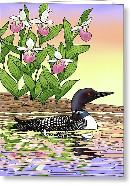 Minnesota State Bird Loon And Flower Ladyslipper Greeting Card