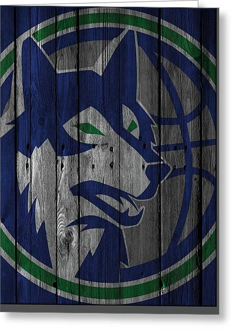 Minnesota Timberwolves Wood Fence Greeting Card by Joe Hamilton