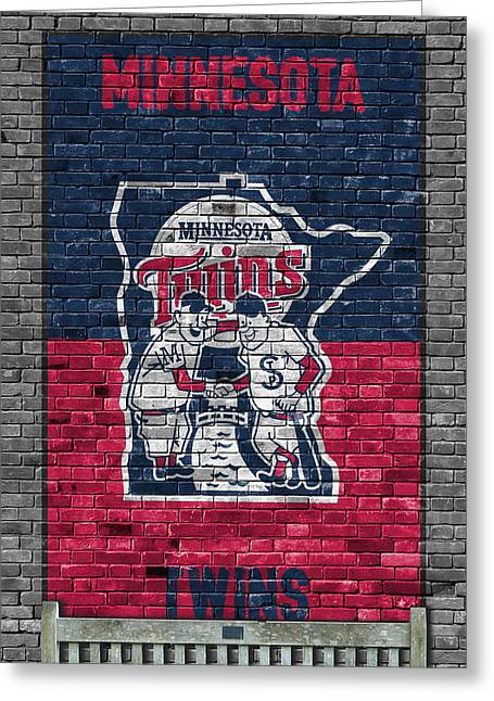 Minnesota Twins Brick Wall Greeting Card by Joe Hamilton