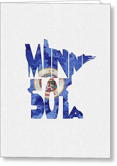 Minnesota Typographic Map Flag Greeting Card