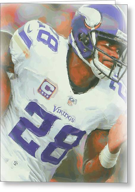 Minnesota Vikings Adrian Peterson 5 Greeting Card