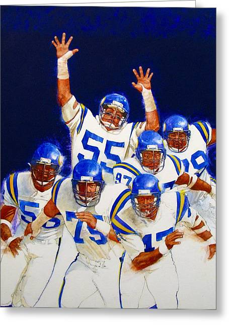 Greeting Card featuring the painting Minnesota Vikings Front Four  by Cliff Spohn