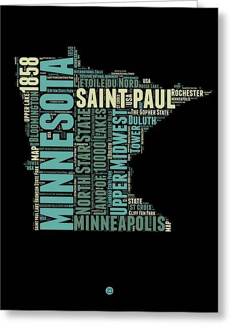 Minnesota Word Cloud Map 1 Greeting Card by Naxart Studio