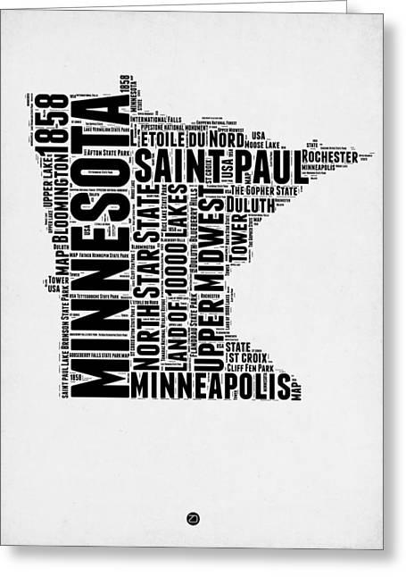 Minnesota Word Cloud Map 2 Greeting Card by Naxart Studio