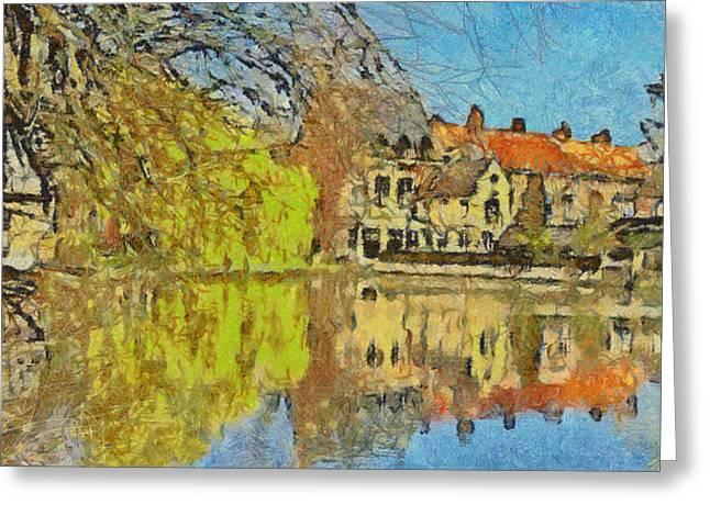 Minnewater Lake In Bruges Belgium Greeting Card