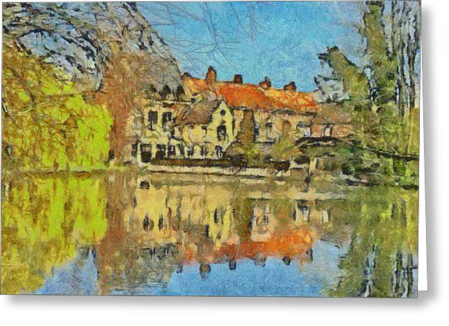 Minnewater Lake In Bruges Belgium Greeting Card