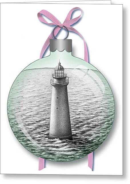 Minot Light Ornament Greeting Card by Donna Basile