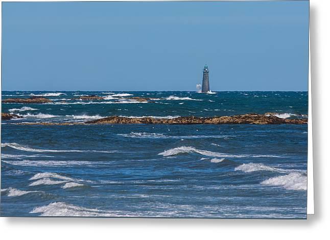 Minot Lighthouse Wave Crash Greeting Card