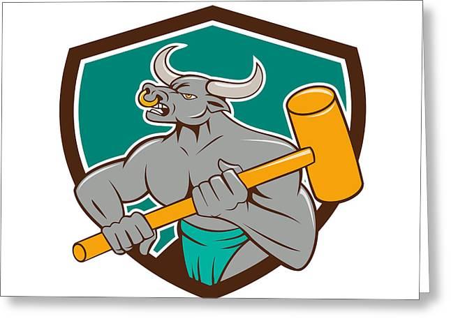 Minotaur Wielding Sledgehammer Shield Cartoon Greeting Card by Aloysius Patrimonio