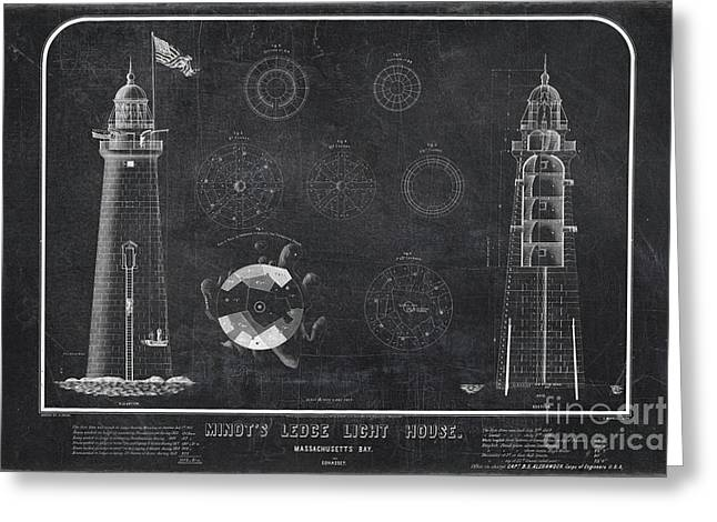 Greeting Card featuring the drawing Minot's Ledge Light House. Massachusetts Bay Near Cohasset  by Vintage