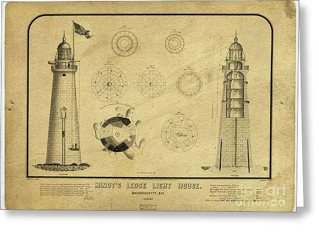 Greeting Card featuring the drawing Minot's Ledge Light House. Massachusetts Bay by Vintage