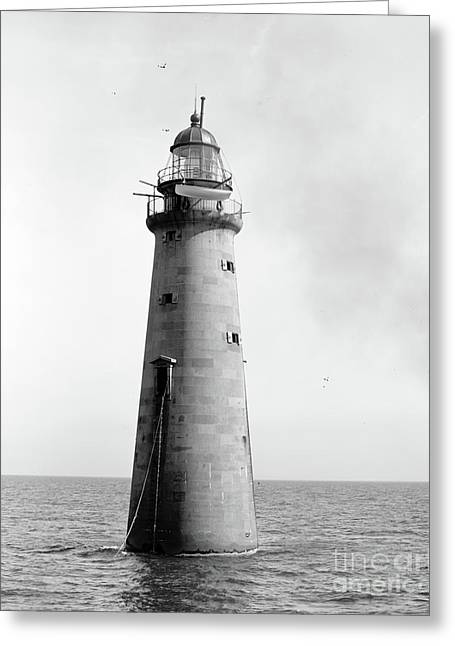 Greeting Card featuring the photograph Minot's Ledge Lighthouse, Boston, Mass Vintage by Vintage