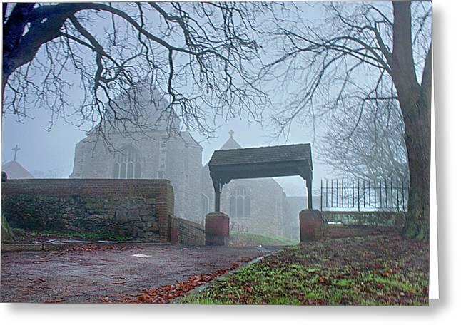 Minster Abbey Fog Bound Greeting Card by Dave Godden