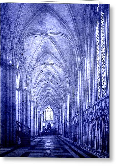 Soaring Tower Greeting Cards - Minster in Blue Greeting Card by Svetlana Sewell