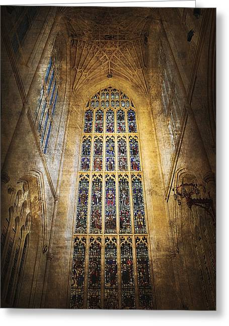 Soaring Tower Greeting Cards - Minster Window Greeting Card by Svetlana Sewell