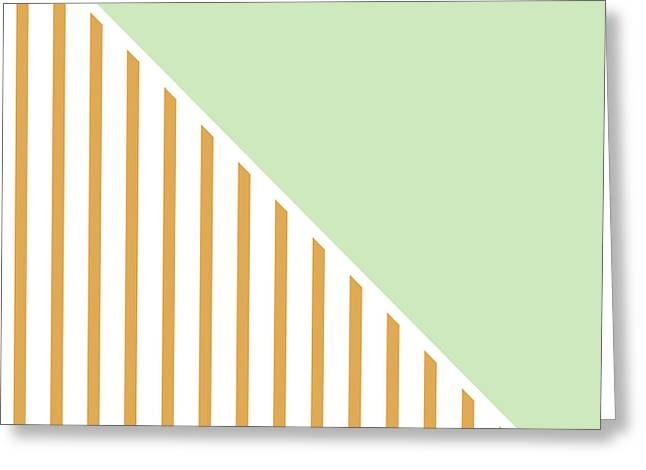 Mint And Gold Geometric Greeting Card by Linda Woods
