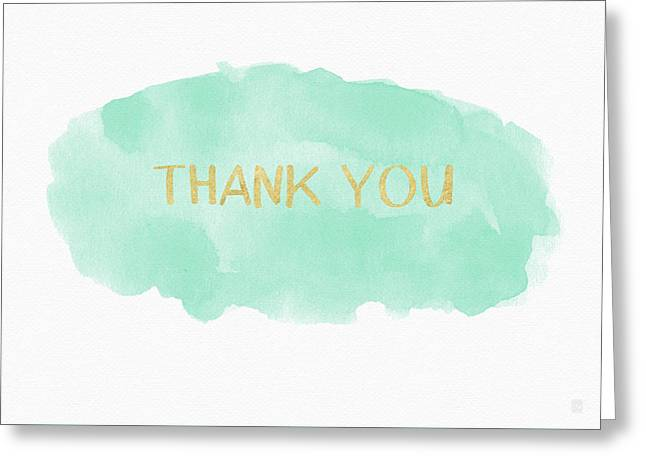 Mint And Gold Watercolor Thank You- Art By Linda Woods Greeting Card by Linda Woods