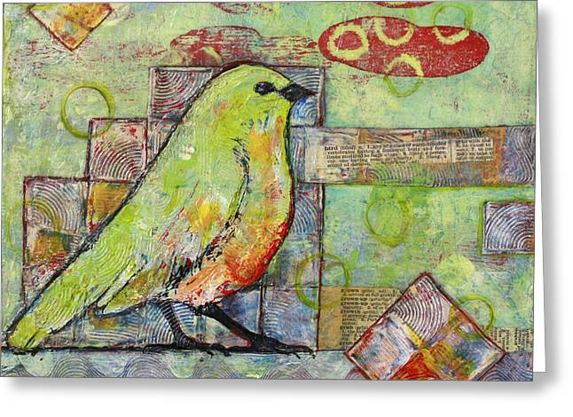 Birding Greeting Cards - Mint Green Bird Art Greeting Card by Blenda Studio