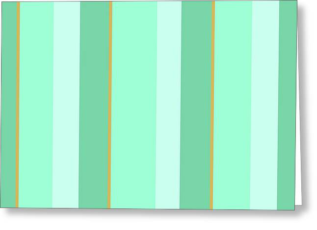 Greeting Card featuring the mixed media Mint Green Stripe Pattern by Christina Rollo