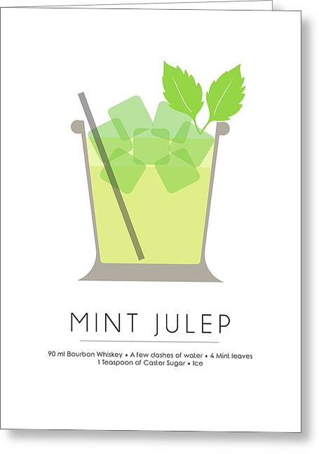 Mint Julep Classic Cocktail - Minimalist Print Greeting Card