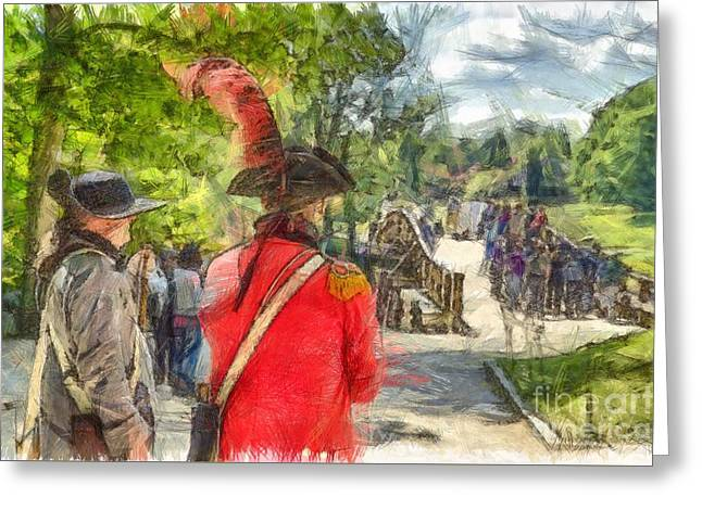 Minuteman And Redcoat Concord Ma Pencil Greeting Card by Edward Fielding