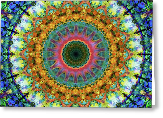 Miracle Mandala Art By Sharon Cummings Greeting Card by Sharon Cummings