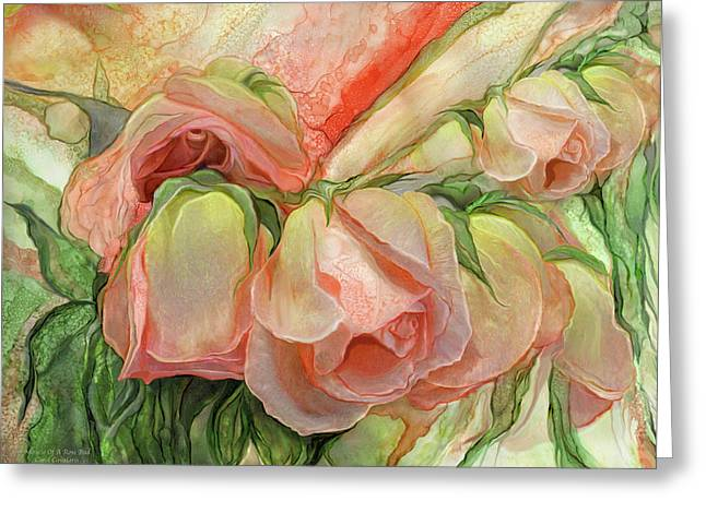 Miracle Of A Rose Bud - Peach Greeting Card by Carol Cavalaris