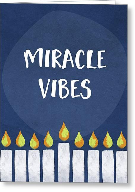 Miracle Vibes- Hanukkah Art By Linda Woods Greeting Card