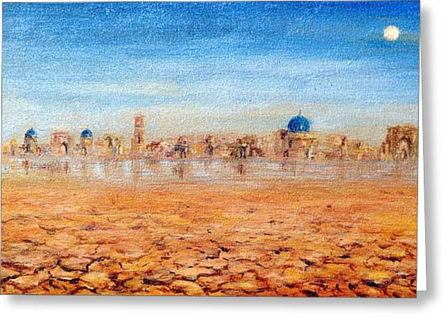 Greeting Card featuring the painting Mirage City by Arturas Slapsys