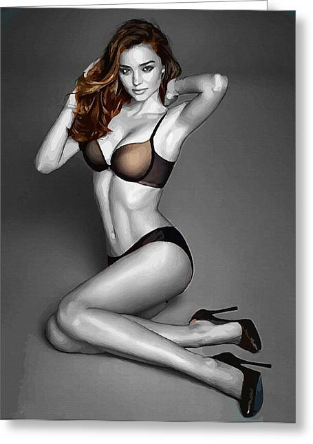 Miranda Kerr Fade To Black Greeting Card by Don Kuing