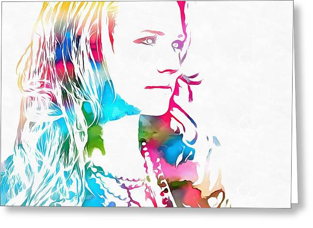 Miranda Lambert Watercolor Greeting Card by Dan Sproul