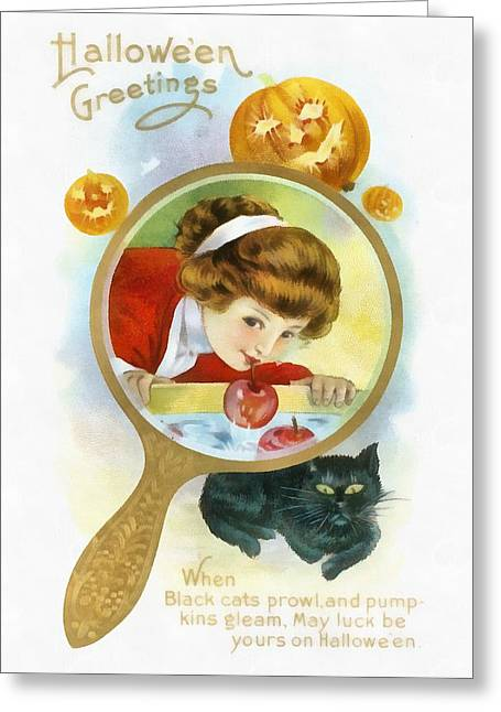 Mirror Image Bobbing For Apples Greeting Card by Unknown