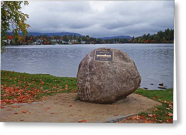 Mirror Lake Ironman Rock Lake Placid Ny Greeting Card by Toby McGuire