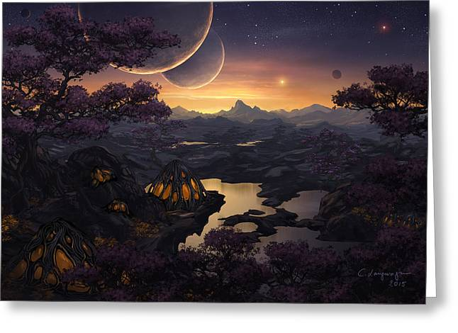 Mirror Lakes Greeting Card by Cassiopeia Art