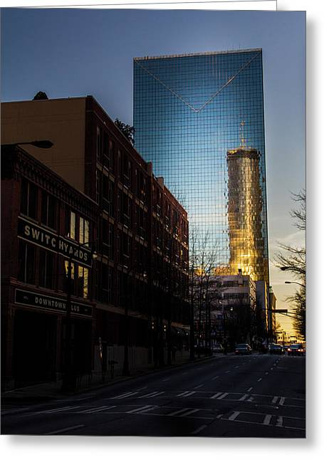 Mirror Reflection Of Peachtree Plaza Greeting Card