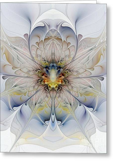 Floral Digital Art Greeting Cards - Mirrored Blossom Greeting Card by Amanda Moore