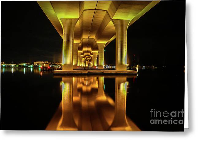 Mirrored Bridge Reflection Greeting Card by Tom Claud