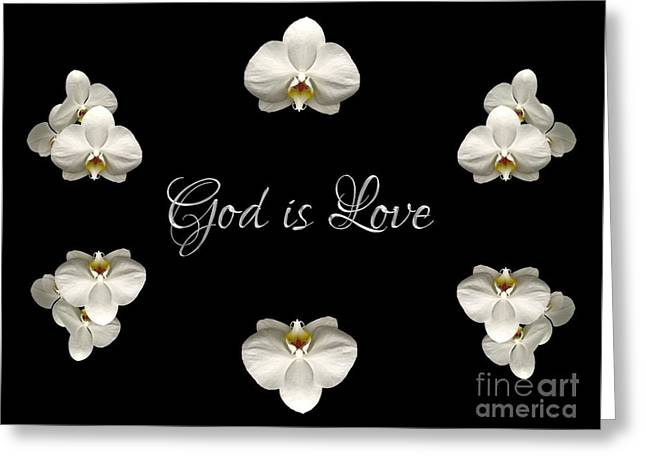 Greeting Card featuring the photograph Mirrored Orchids Framing God Is Love by Rose Santuci-Sofranko
