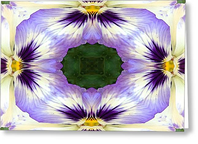 Mirrored Pansies - Square Greeting Card