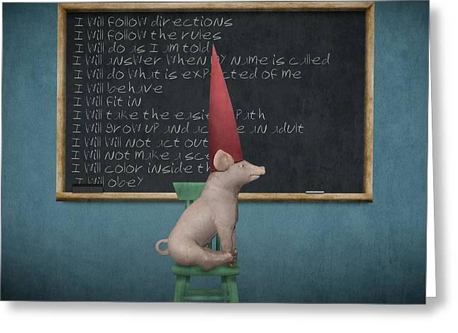 Misbehavin' Greeting Card by Greg Noblin