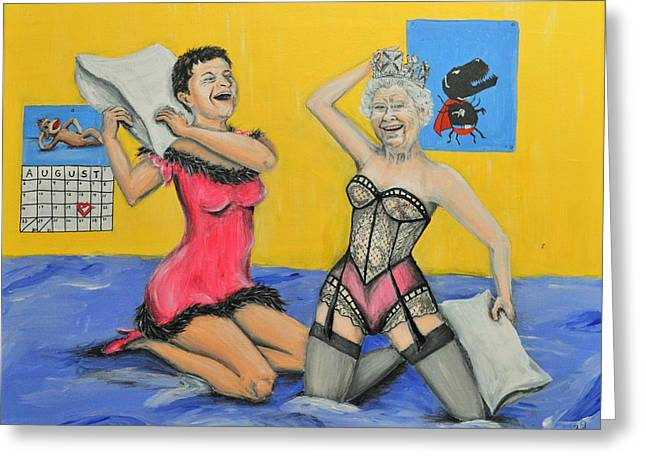 Misha And The Queen Pin Up Girls Slumber Party Greeting Card by Meganne Peck