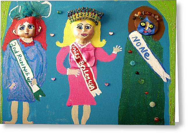 Miss Bo Leg Usa Greeting Card by Betty  Roberts