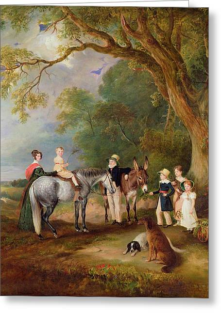 The Conversation Greeting Cards - Miss Catherine Herrick with her Nieces and Nephews Greeting Card by John E Ferneley