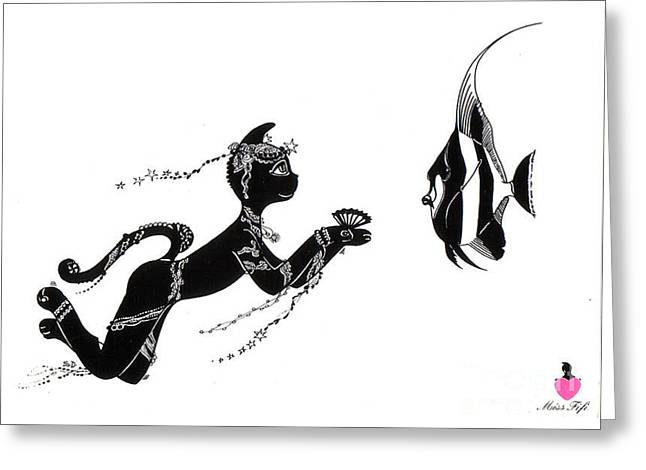 Miss Fifi And The Angel Fish Greeting Card by Silvia  Duran
