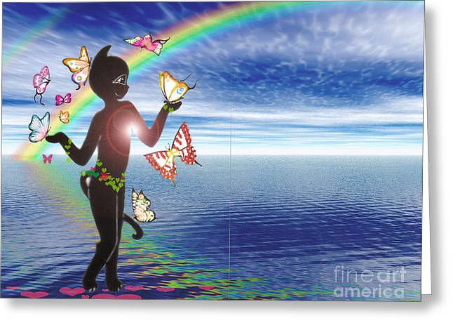Miss Fifi And The Rainbow Greeting Card by Silvia  Duran
