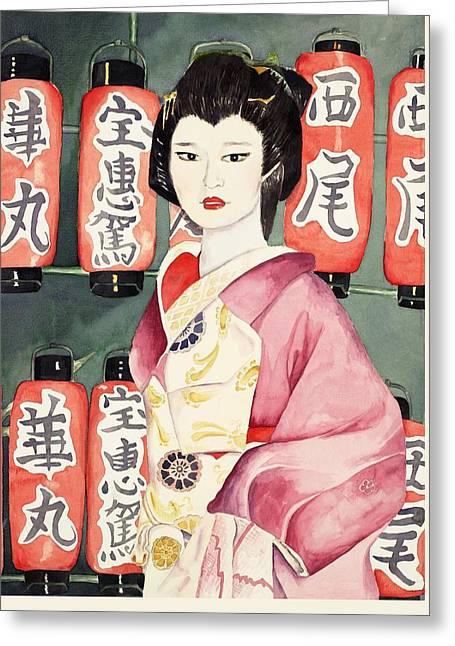 Miss Hanamaru At Osaka Festival Greeting Card by Judy Swerlick