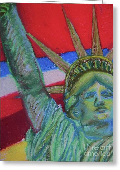Miss Liberty Greeting Card by Emily Michaud