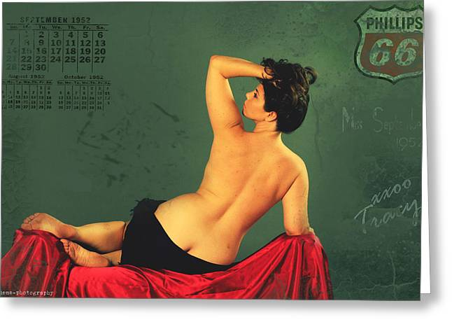 Vintage Pinup Greeting Cards - Miss September circa 1952 Greeting Card by Cinema Photography